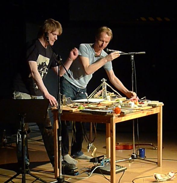 Johannes Bergmark and David Bremer playing the Platforms at Fylkingen 2011. Photo © by Per Åhlund